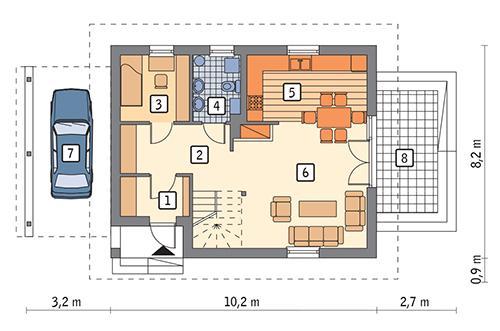 Rzut parteru: wariant 1 POW. 60,5 m²