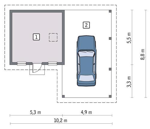 Rzut parteru POW. 24,9 m²