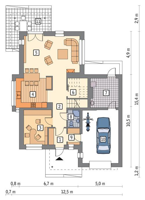 Rzut parteru POW. 106,7 m²