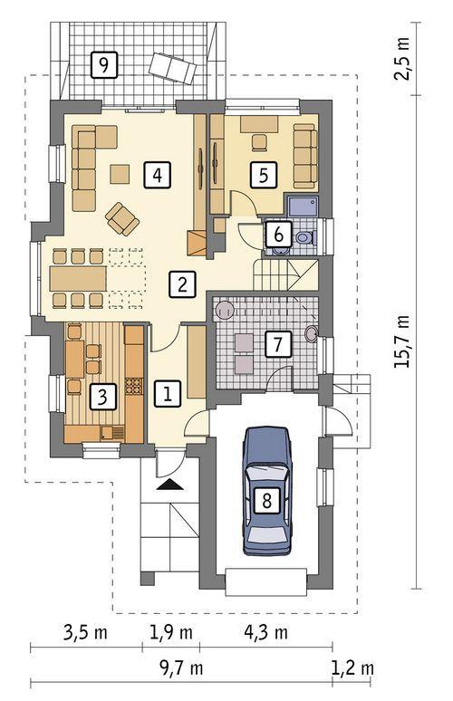 Rzut parteru POW. 92,7 m²