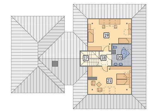 Rzut poddasza POW. 73,6 m²