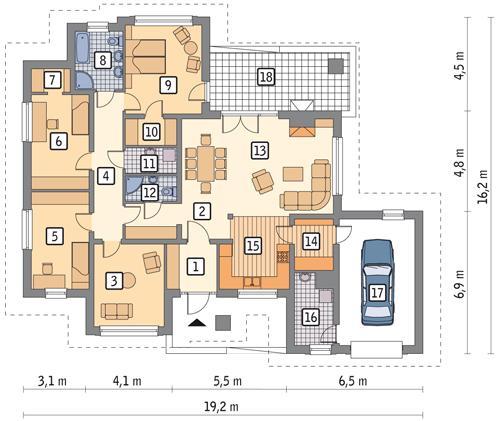 Rzut parteru POW. 166,2 m²