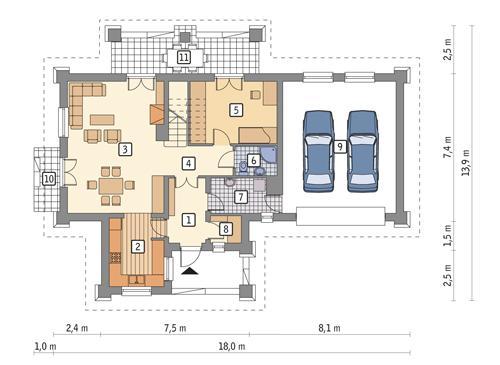 Rzut parteru POW. 114,2 m²