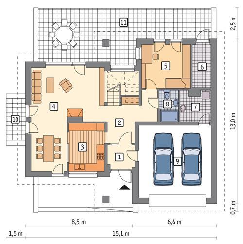 Rzut parteru POW. 118,3 m²