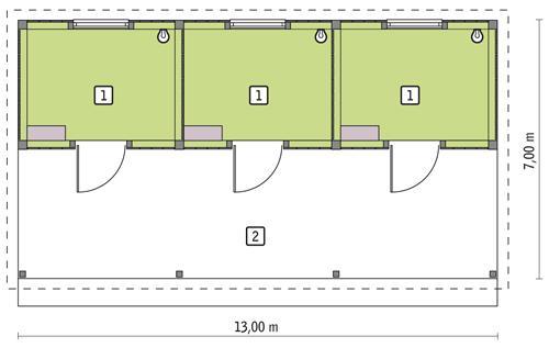 Rzut parteru POW. 36,4 m²