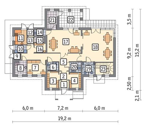 Rzut parteru POW. 158,0 m²